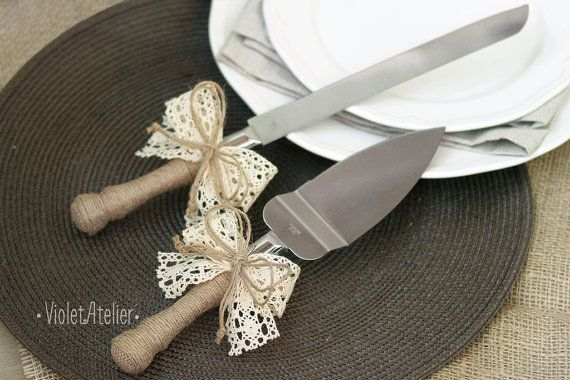 Lace ribbon wedding cake server and knife set, made to order. Perfect for rustic weddings, country style outdoor weddings, vintage weddings, barn weddings or as a wedding gift. Each product is wrapped by natural twine and decorated with large ivory lace bow. Measurements: Knife: 32.5