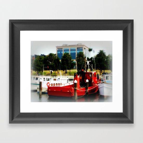 Little red tug Boat Framed Art Print