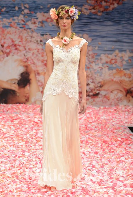 "Brides: Claire Pettibone - Fall 2013. ""Thalia"" ivory silk and velvet off-the-shoulder sheath wedding dress with embroidered cameo bodice and guipure lace appliques, Claire Pettibone"