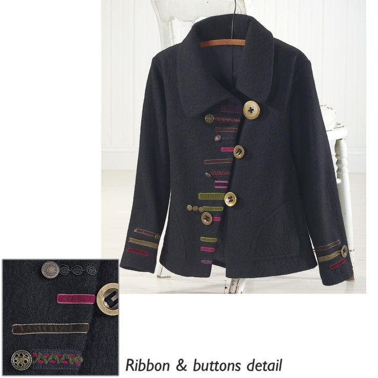 Asymmetric Ribbon Trimmed Jacket All The Trimmings Jacket. Staying warm is an art form in this rich, boiled wool jacket. 100% boiled wool.
