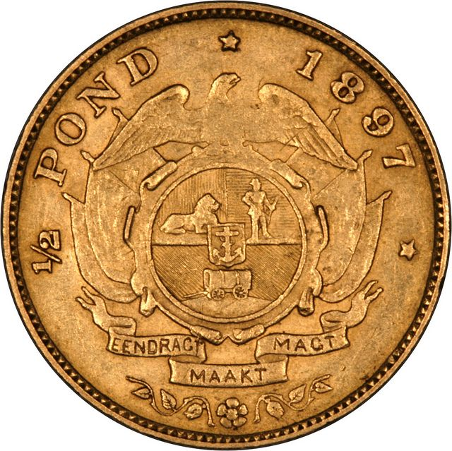 1897 South Africa Half Pond Gold...