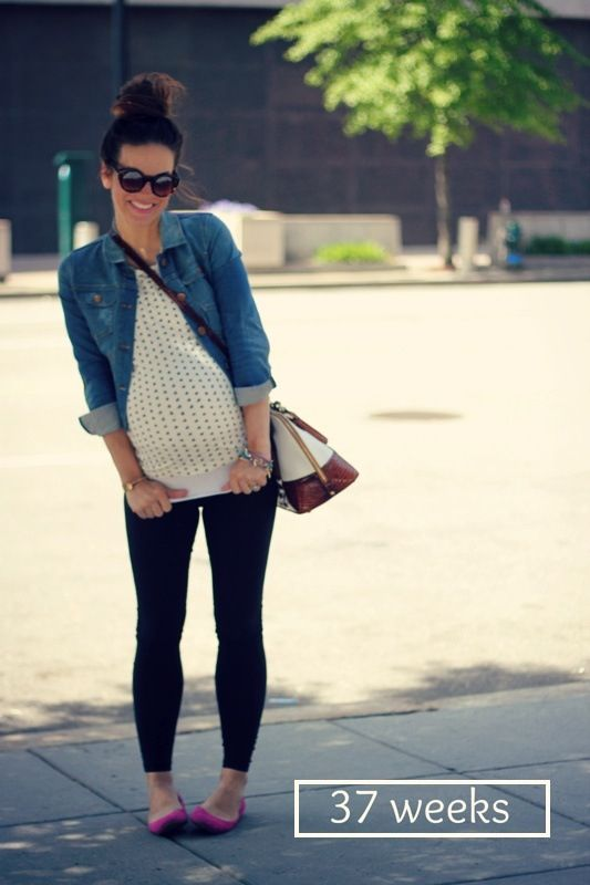 A good jean jacket is a must-have during pregnancy. Leggings are fantastic and you can dress them up or down with the right jewelry.: