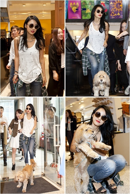 Dammm, Lee Hyori looks fantastic in these photos, love her style....I guess the dog is cute too...  CUTE ALERT: Lee Hyori Poses with Her Puppy Soon Shim