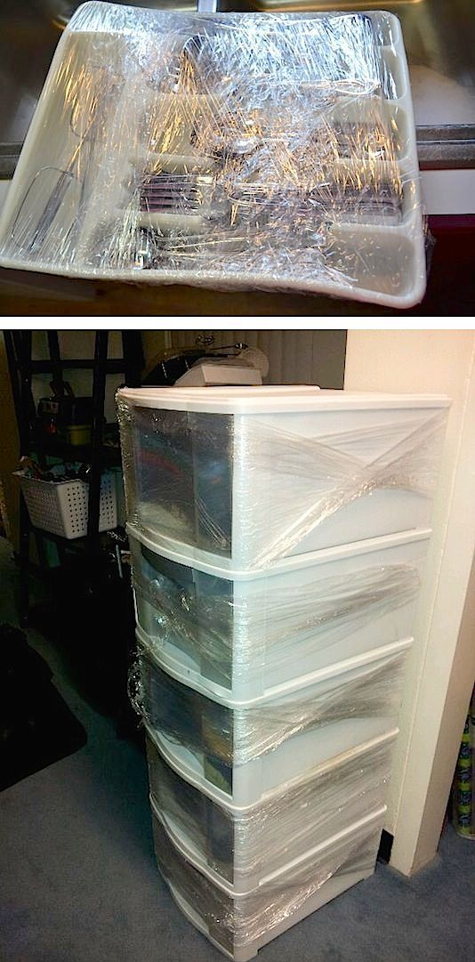 Helpful moving tips! Use plastic wrap to keep drawers shut and silverware in its place.