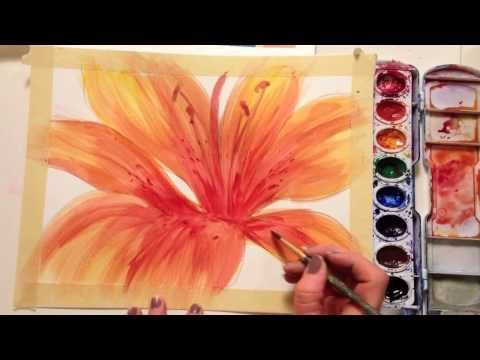 How to paint a flower with watercolor - YouTube