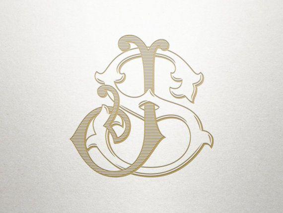 Interlocking Monogram Design - JS SJ - Monogram Design - Vintage $36.00 etsy