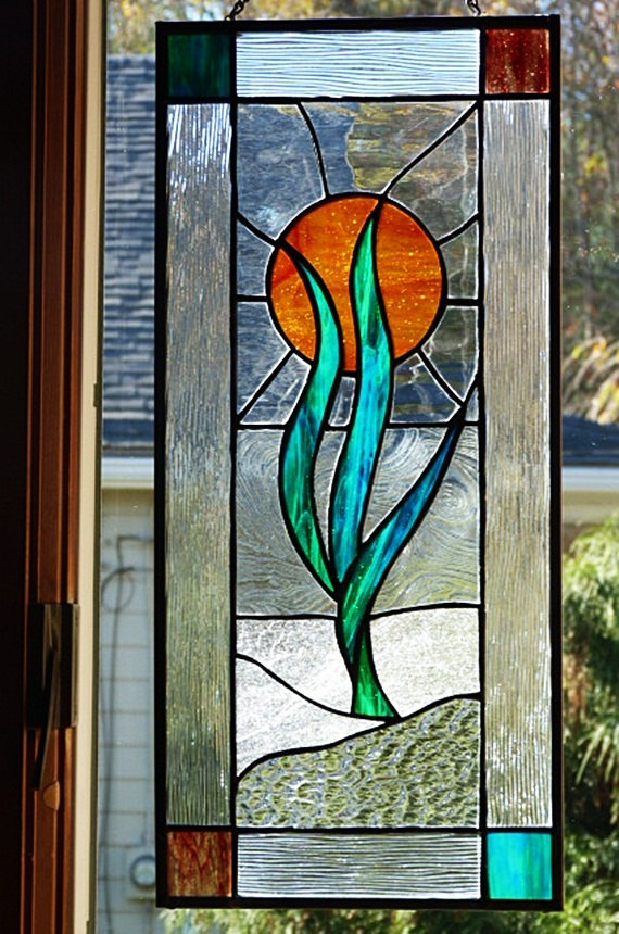 Decorative Abstract Stained Glass Panel by miloglass on Etsy, $125.00