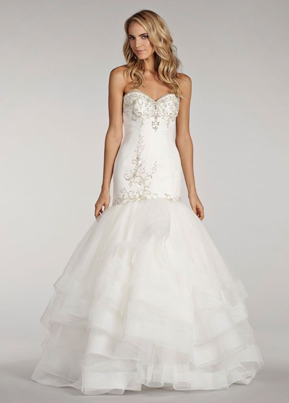 Ivory organza fit and flare gown with beaded elongated for Wedding dress trim beading