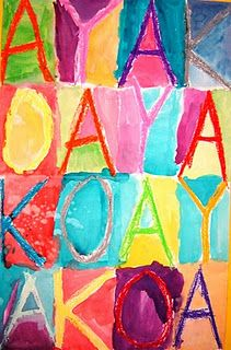 """This was a great 2 day art lesson for my 1st graders. We began by folding a 12x18"""" white paper 4 times and opening it up to get 16 rectangles. I demonstrated how to use the letters of my name to fill up the entire space of each rectangle ( some got it!) They used oil pastels to create a bug chunky letter and then kept repeating the letters in their name until the last rectangle. Then we used watercolors to fill in the rest of the white spaces."""