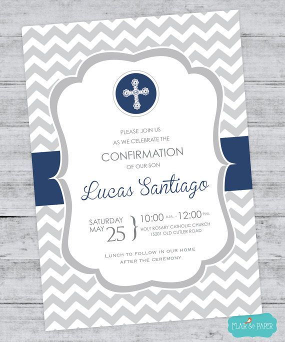 Celebrate the special day with this modern Confirmation Invitation. Baptism Invitation, Baptism Announcement, Christening Invitation, Holy First