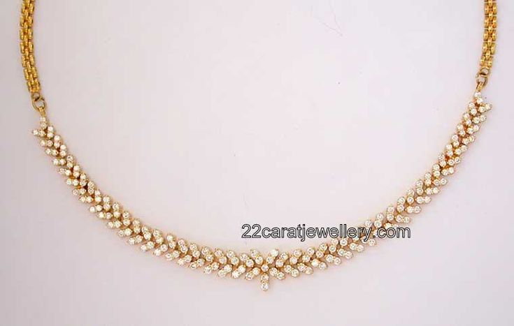 Simple Gold Diamond Necklacesimple Diamond Necklace Jewellery Designs Hpuiszgt
