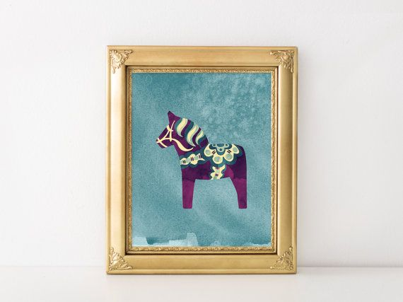 Purple dala horse downloadable art. For my bathroom? Etsy listing at https://www.etsy.com/listing/213623420/scandinavian-purple-dala-horse-printable
