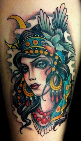 gypsy tattoos | gypsy girl head hunter and fox custom tattoo sydney tattoo australia ...
