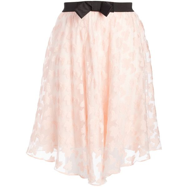 Bellino Pink Butterfly & Flower Circle Skirt ($17) ❤ liked on Polyvore featuring skirts, plus size, layered lace skirt, lace skirt, pink lace skirt, bow skirt and pink knee length skirt