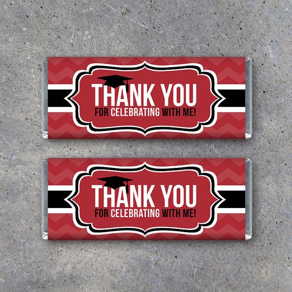 Graduation Printable THANK YOU Candy Bar Wrappers in Red make memorable party favors! By Studio 120 Underground, $5.