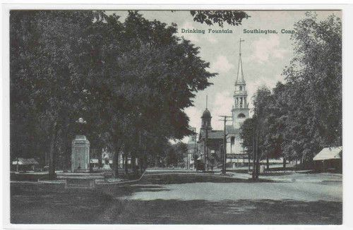 Street Scene Drinking Fountain Southington Connecticut Postcard   eBay
