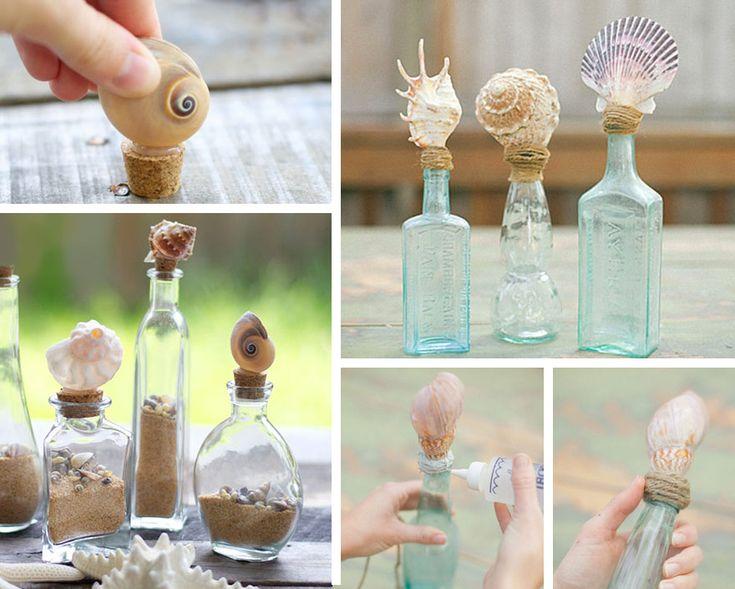Decorazione con le conchiglie: tappi per bottiglie