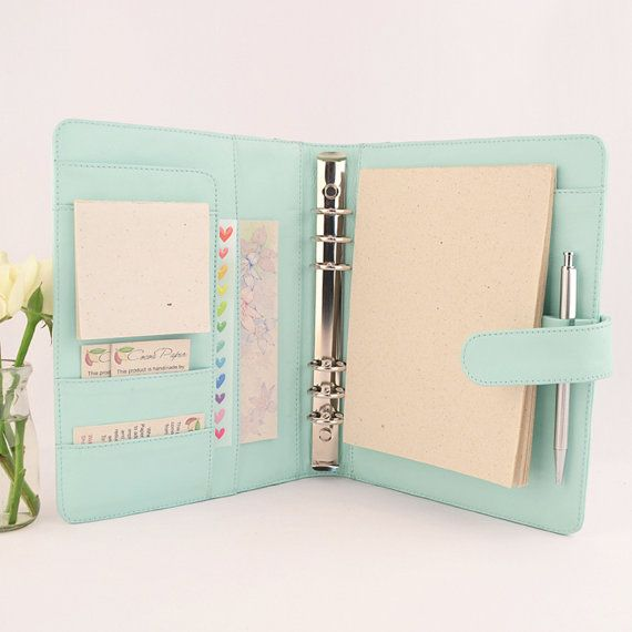 A5 Original Leather Ring Binder Planner - 6 Ring, Lots of pockets, personalized & available in different colors.