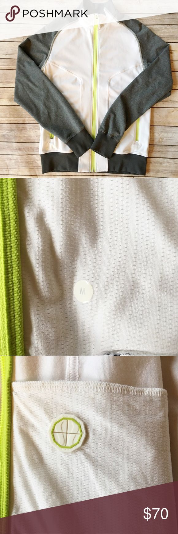 Men's Lululemon Track Jacket Excellent used condition no flaws. Bright lime green, white and gray colors. Mesh under arms, two front zipper pockets and two inside mesh pockets. Right pocket has headphone cord port. lululemon athletica Jackets & Coats