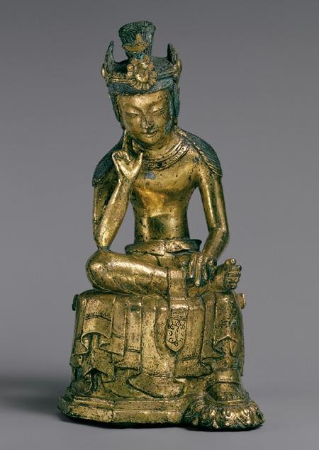 3. Pensive Bodhisattva, Three Kingdoms period (57 b.c.–668 a.d.), mid-7th century Korea Gilt bronze
