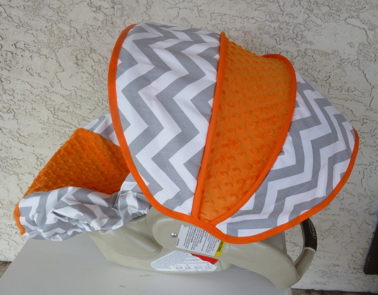 Grey Chevron with Orange Infant Car Seat Cover by sewcuteinaz