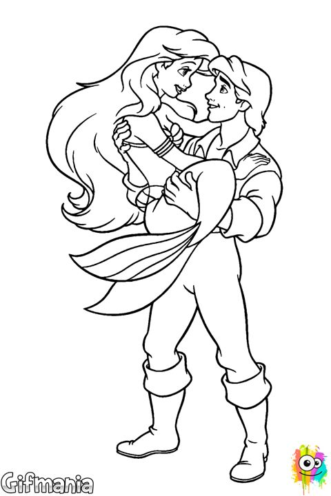 Ariel And Eric Thelittlemermaid Disney Drawing Princess Coloring PagesDisney