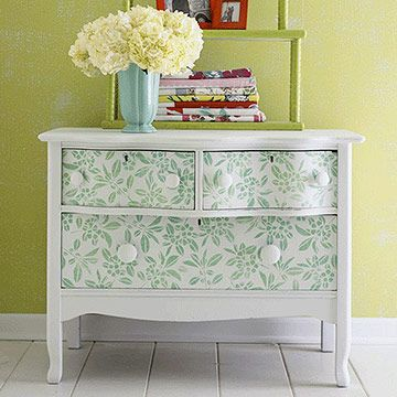 "Salvage Success Story: ""Stencils are a perfect decorative cure for flea market finds such as this dresser. First, prime and paint your dresser a fresh coat of white. Use a large wallpaper-style stencil (home centers and crafts stores carry these) to transfer designs to the drawer fronts in a contrast color. Cheap, easy, and fast-perfect!"""