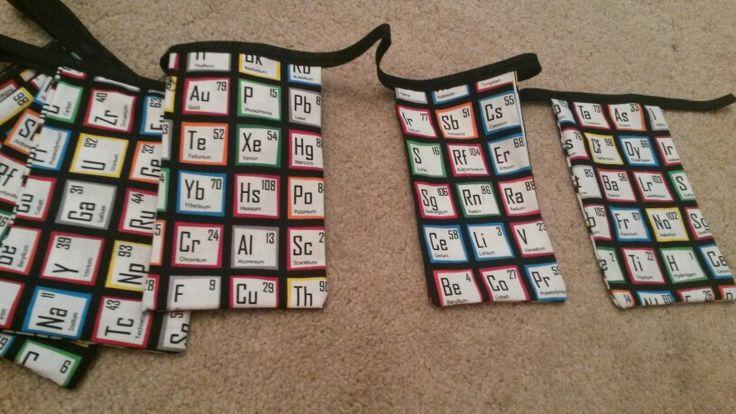 Periodic table bunting.  Backstagebunting@oatforge.co.uk