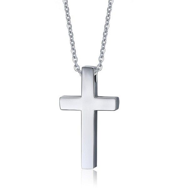 Blowin Mens Stainless Steel Cross Pendant Necklace for Christian... ($12) ❤ liked on Polyvore featuring men's fashion, men's jewelry, men's necklaces, mens stainless steel necklace, mens chain cross necklace, mens watches jewelry, mens silver chains and mens crucifix necklace