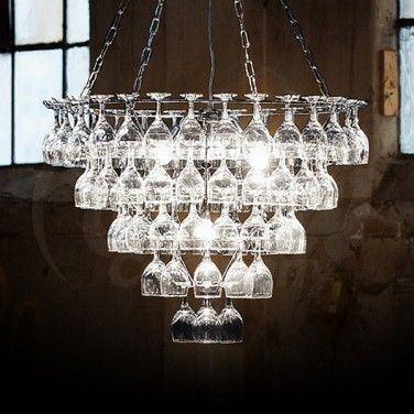 Vino Contemporary Wine Glass Chandelier
