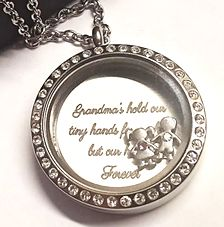 FLS4 - Grandma Gift Locket, Grandmas hold our tiny hands for a while, but our hearts forever, personalize with children birthstones