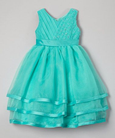 Love this Turquoise Beaded Layered Dress - Toddler & Girls on #zulily! #zulilyfinds