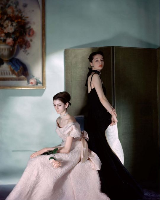 British Vogue, July 1946. Photo - Cecil Beaton   Carmen Dell'Orefice and Countess Gloria von Furstenberg (later Gloria Guinness) in gowns by Mark Mooring