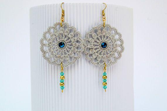 Pendientes de crochet-ganchillo  Pendientes largos - Pendientes negros - Estilo romántico - Cadenas colgantes