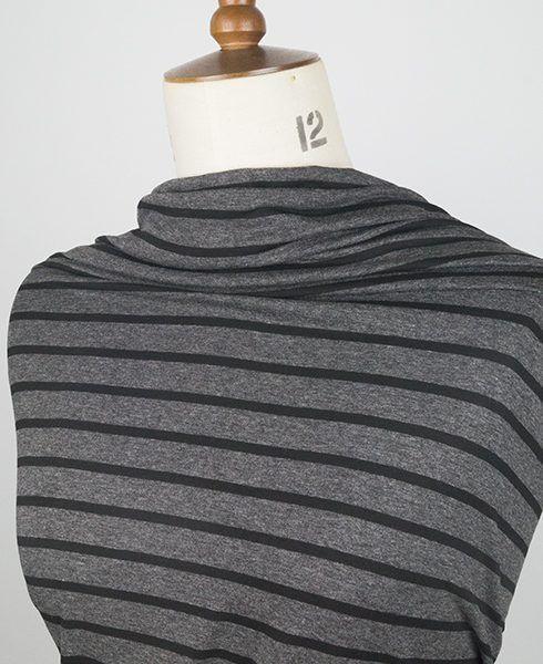 Charcoal striped viscose jersey fabric