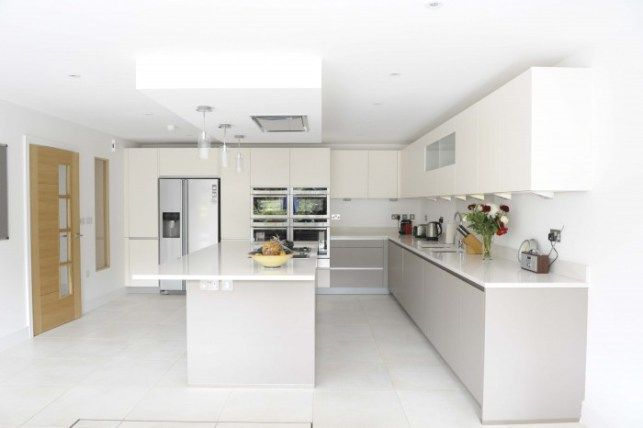 Calm Kitchen for a Busy Family Handleless kitchen, Norte and Lava - küchenzeile u form