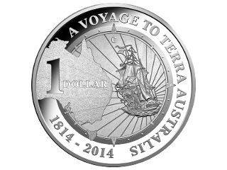 $1 Fine Silver Proof 'C' mintmark coin. In 2014, the Mint has selected the 1814 publication of Matthew Finders' historic journal, A Voyage to Terra Australis, as the inspiration for the 2014 releases in this much loved series. #coincollecting