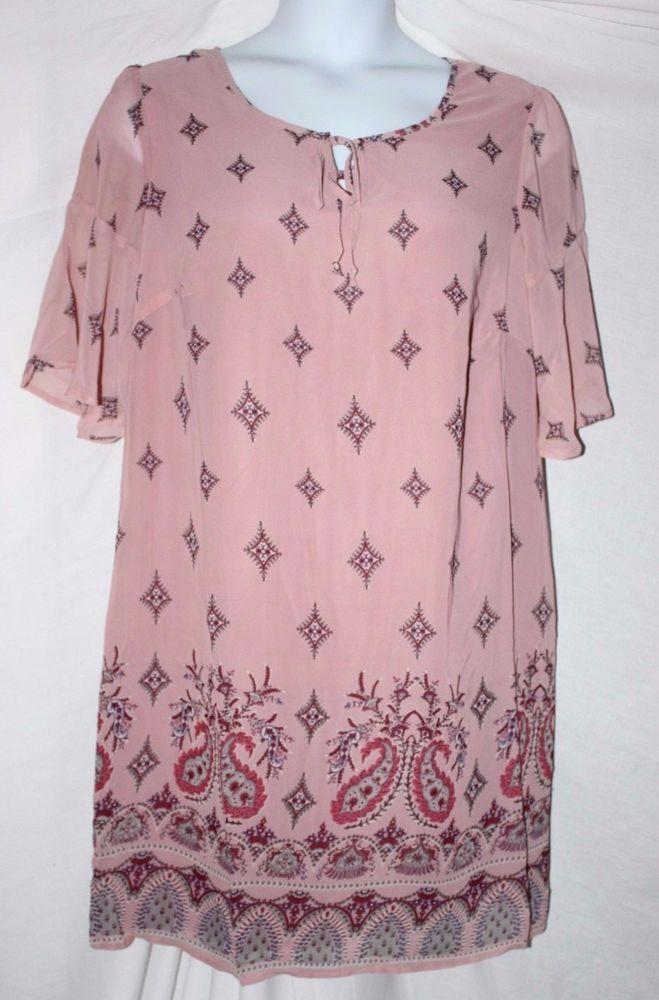 Women's Printed Paisley Blush/Rose Lined Short Sleeve Tunic Dress 1X-2X-3X…