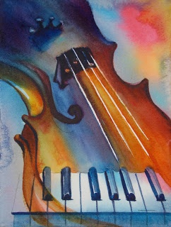 Musically Inclined (Violin, Piano) Watercolor by Bertie Brown