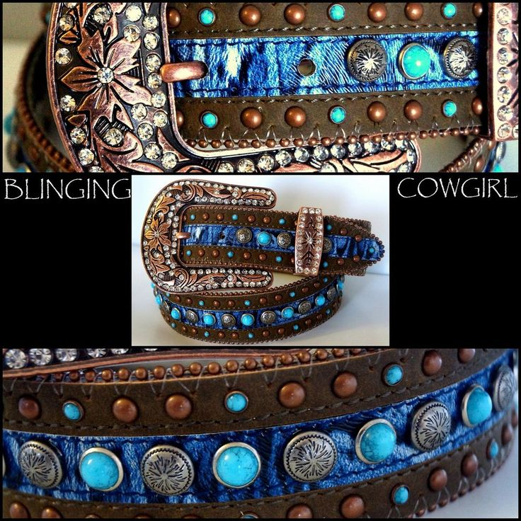 Boho Western Brown Cowgirl Leather Belt Turquoise Studs Bronze Buckle S-M-L-XL