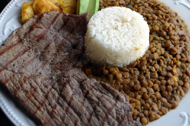 Carne Asada with lentil stew and rice. Ecuadorian Style! =)