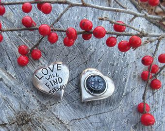 Love Will Find the Way Pocket Compass- Heart Shaped Compass for Your Valentine or Sweetheart
