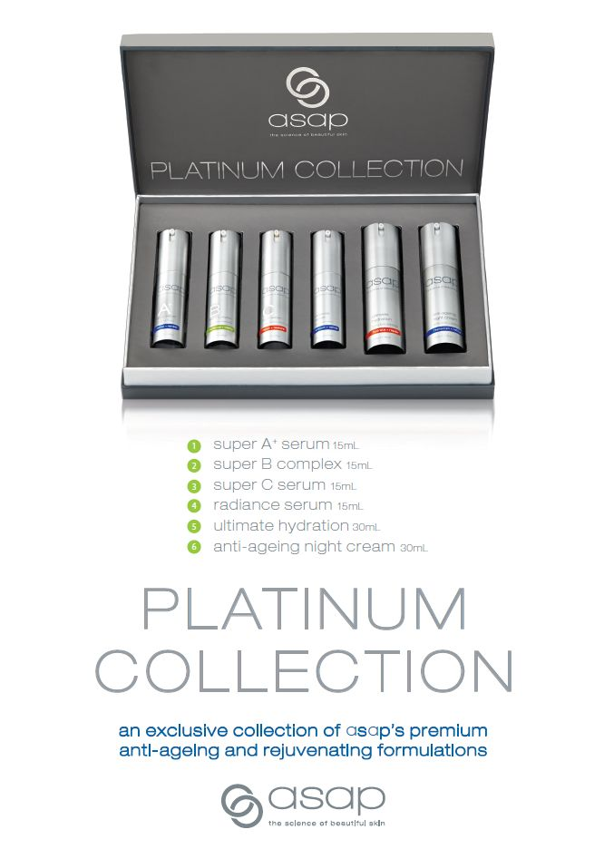 Looking for a gift for someone who has everything? Give the gift of beautiful skin! This ASAP Platinum Collection pack has everything you need and is the perfect introduction to the premium products in the asap range and the ultimate gift of beautiful, radiant skin! Each Platinum Collection consists of: 1 x super A+ serum 15mL 1 x super B complex 15mL 1 x super C serum 15mL 1 x radiance serum 15mL 1 x ultimate hydration 30mL 1 x anti-ageing night cream 30mL