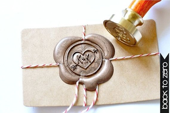 Custom Wax Seal Stamp  Initials Heart & Arrow x 1 by BacktoZero, $25.00