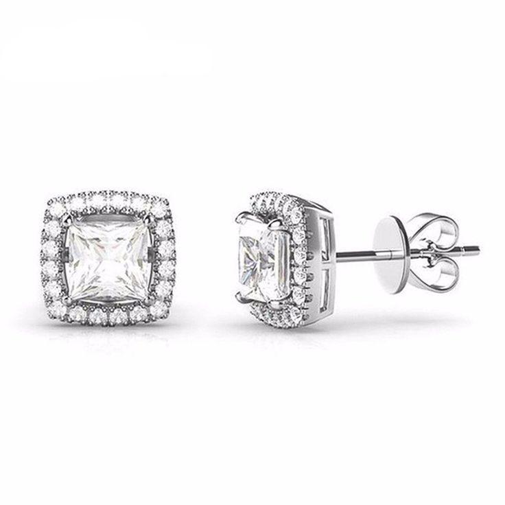 Genuine 925 Sterling Silver Jewelry Square Stud Earrings Classic 6MM Cubic Zirconia Earrings