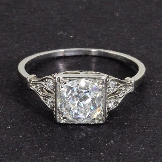 Beautiful Art Deco Platinum 1 40 Ct Diamond Solitaire Engagement Ring Diamond Solitaire Engagement Ring Vintage Rings Diamond Solitaire