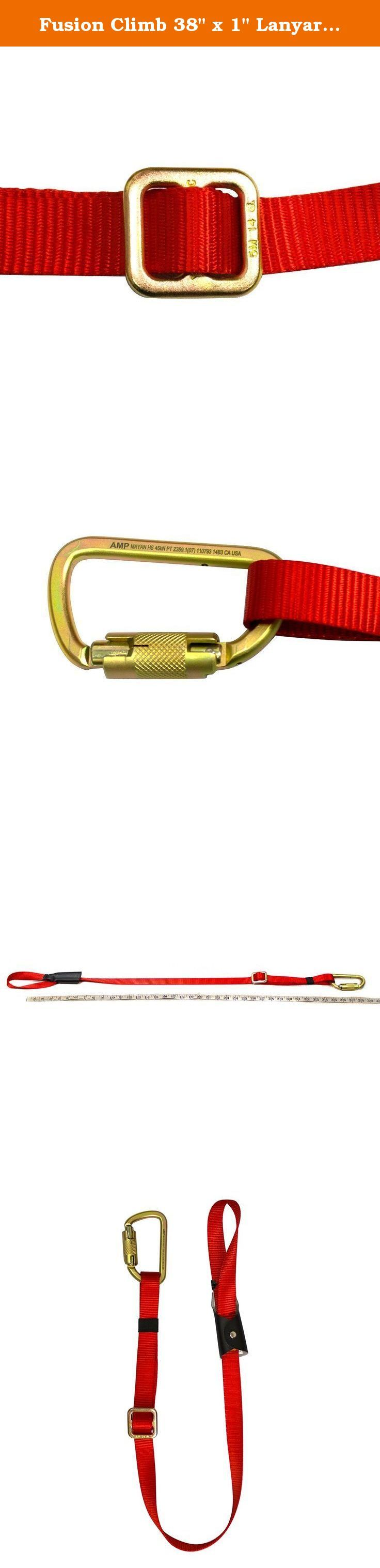 """Fusion Climb 38"""" x 1"""" Lanyard with Double Locking High Strength Steel Carabineer, Red/Gold. Fusion Climb 38"""" x 1"""" Lanyard with Double Locking High Strength Steel Carabiner Red - Single leg adjustable up to 38"""" with tie back feature. - Webbing rated more than 5000lbs and steel carabiner rated more than 5000lbs. - Girth hitch at one end and high strength carabiner 9103GPK-HS at the other end. ."""