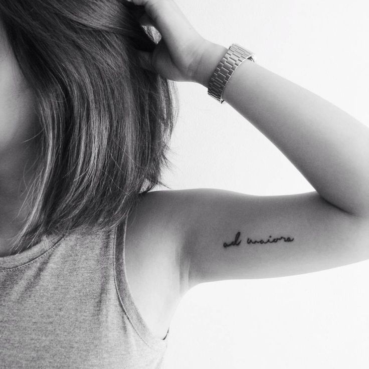 """Ad maiora"", Latin for ""toward great things"" on Allere Kaye's left inner arm."