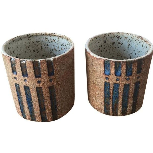 Modern Studio Signed Pottery Cups - a Pair (2.130 RUB) ❤ liked on Polyvore featuring home, kitchen & dining, drinkware, mugs, handmade mugs, pottery mugs, handmade pottery mugs, pottery cups and outdoor drinkware