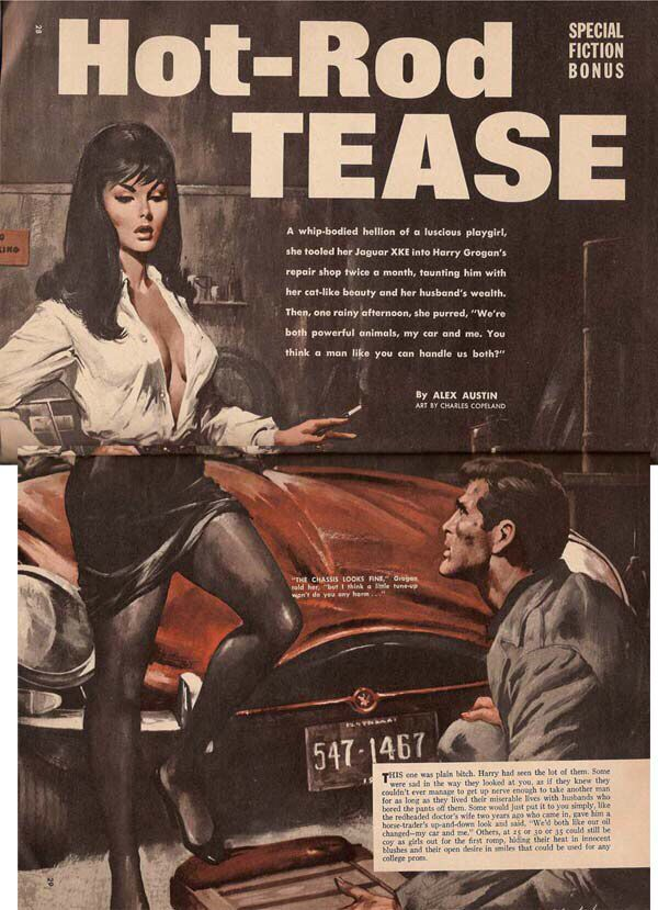 Hot-Rod Tease | Illustration: Charles Copeland | Pulp art